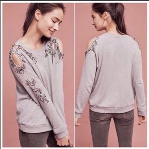 Anthropologie Deletta Beaded Cutout Pullover